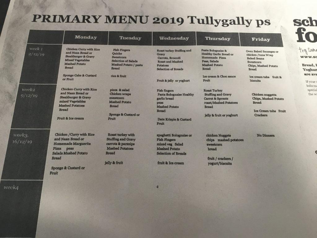 Dinner Menu Tullygally Primary School
